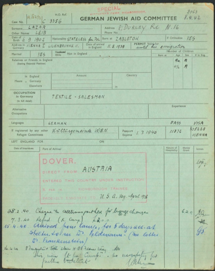 Kitchener camp, Lieb Lazar, German Jewish Aid Committee green form, page 1, Camp number 3063
