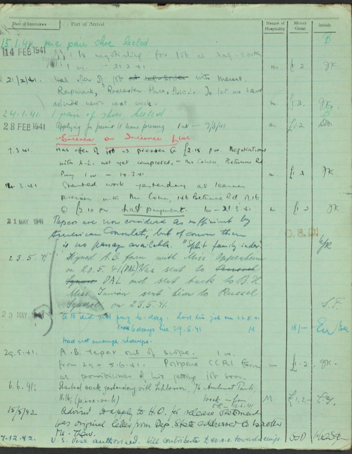 Kitchener camp, Lieb Lazar, German Jewish Aid Committee green form, 1940s, page 2