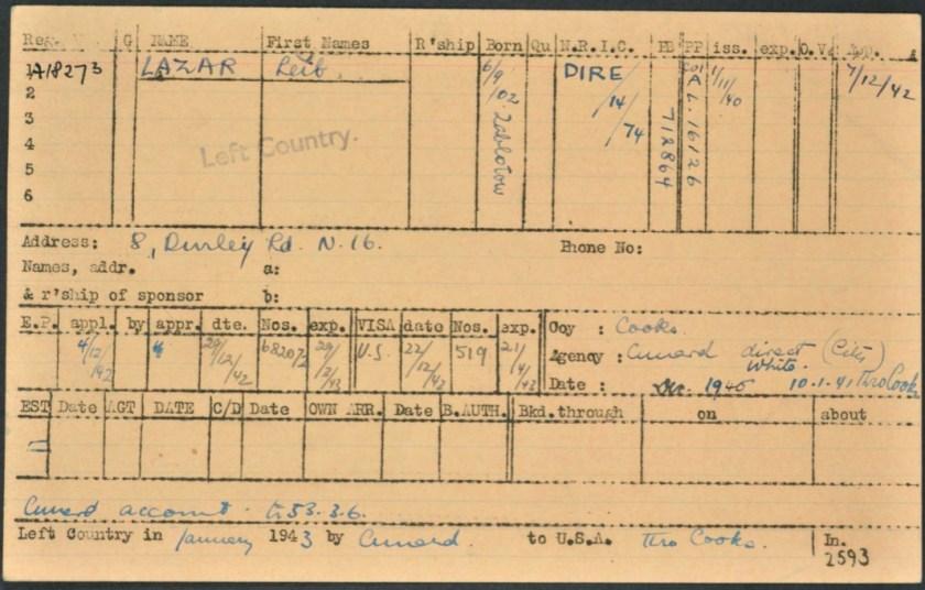 Kitchener camp, Lieb Lazar, German Jewish Aid Committee, Leaving card, 1943