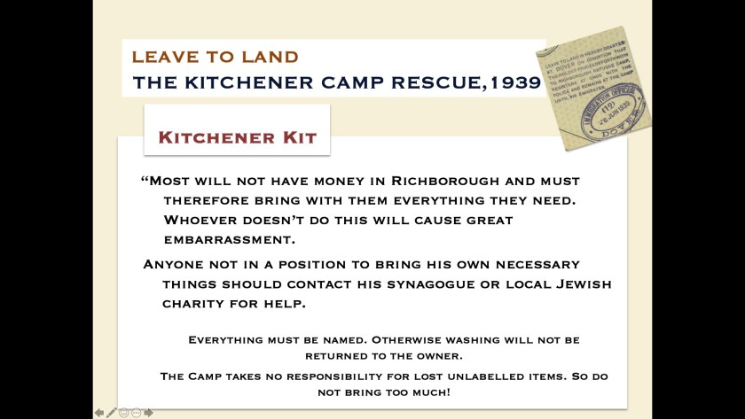 Kitchener camp kit - digital slides from the Leave to Land exhibition, 2019, page 1