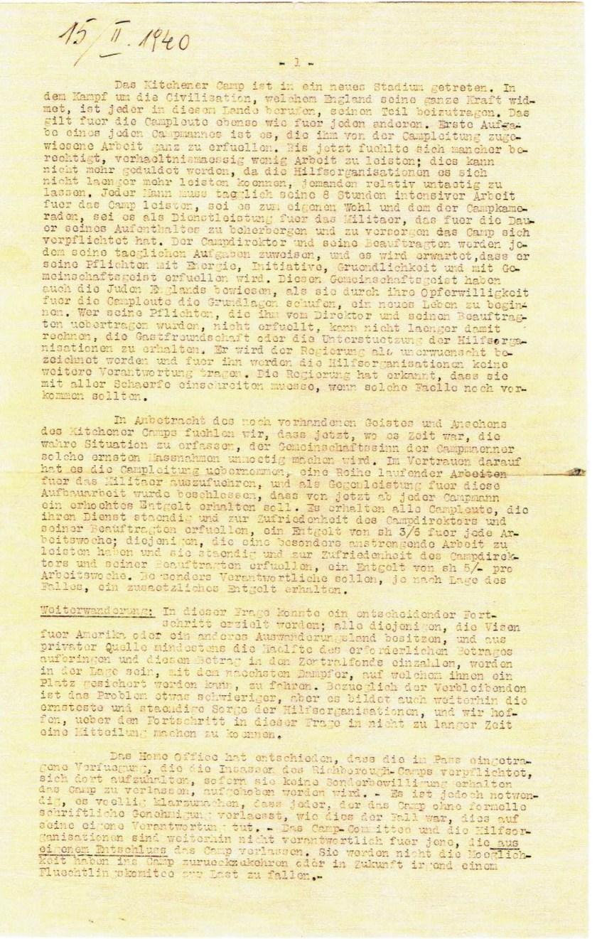 Kitchener camp, Oscar Reininger, letter 15 February 1940