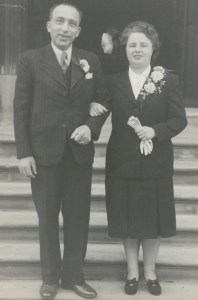 Kitchener camp, Bruno Pietsch, Wedding day, Marriage of Bruno and Marie Löffler (1919-1983). Marie (Mitzi) was a Jewish refugee from Vienna. They were married for over 30 years until Bruno's death in 1979; they had no children. Bruno and Mitzi are buried next to each other in the Cemetery of the Federation of Synagogues at Upminster Road North, Rainham, Essex