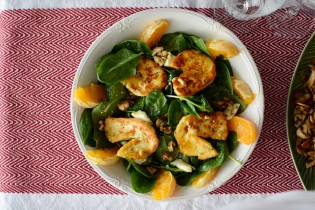 Spinach and halloumi