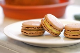 chocolate macarons with lemon curd filling