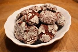 minty dark chocolate crinkle cookies