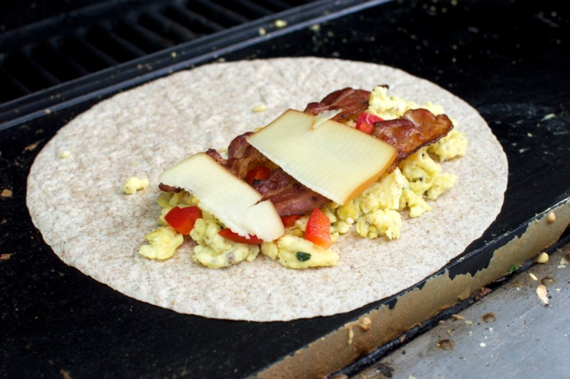breakfast quesadilla on griddle
