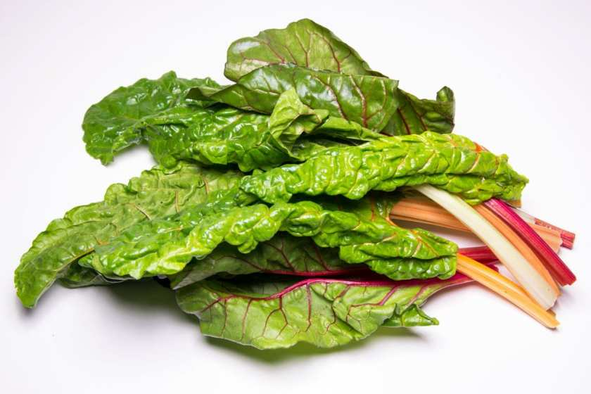 A small bunch of swiss chard laid on a white background.