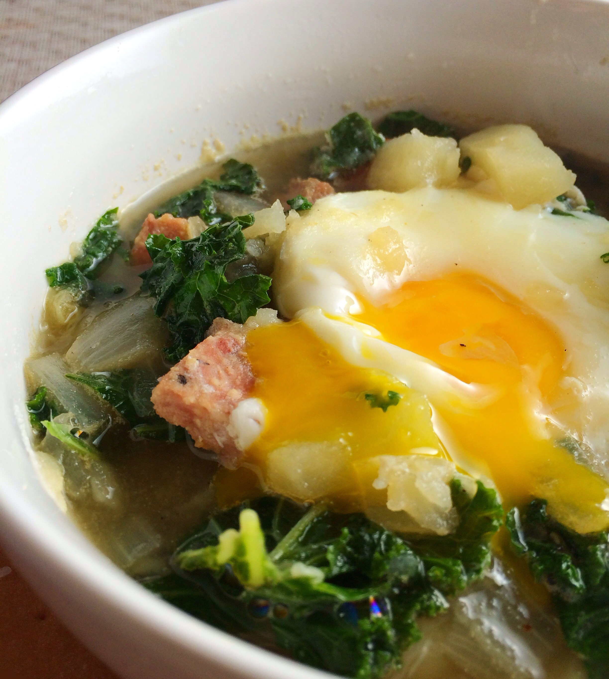 Potato Kale Soup with Poached Egg