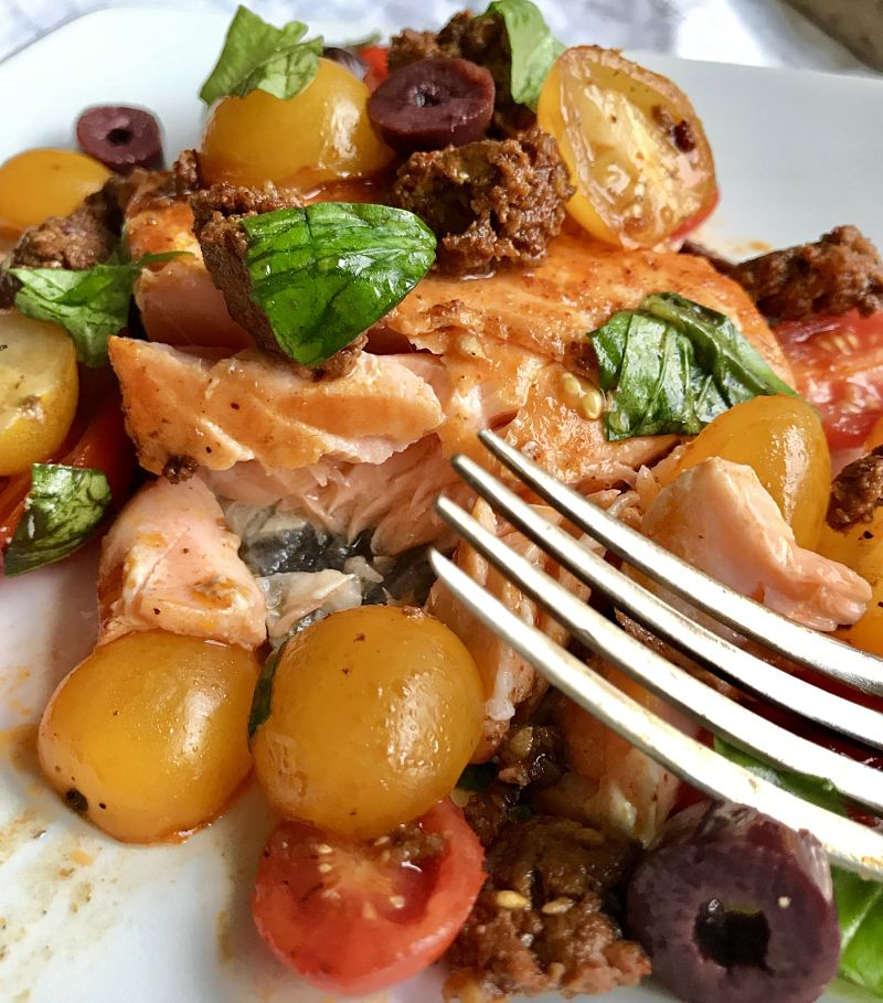 Jamie Oliver Inspired Tomato Chorizo Salmon