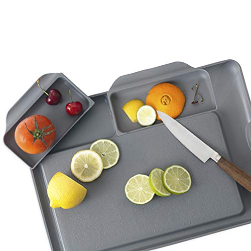 Double Save Non-Slip Top Side Removable Compartments and Grooves to Prevent Spills Dishwasher Safe Cutting Board Serving Tray