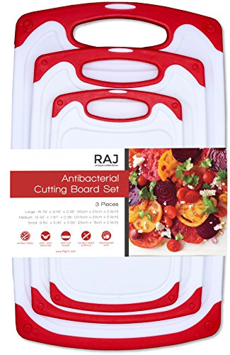 Raj Plastic Cutting Board Reversible Cutting board Dishwasher Safe Chopping Boards Juice Groove Large Handle Non-Slip BPA Free FDA Approved Set of Three Red