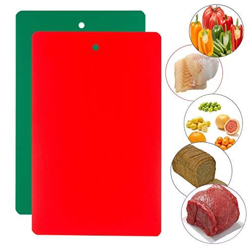 Set of 2  Plastic Cutting Boards for Kitchens - Large Flexible  Design  Dishwasher Safe Countertop Food Preparation