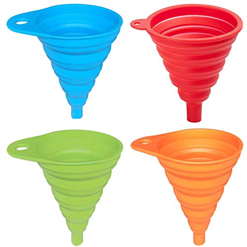 AxeSickle Silicone Collapsible Funnel 4 Pcs Folding Funnel for Liquid Transfer As Oil Water Shampoo Sanitizer Kitchen Tool Gadget 100 Food Grade Silicone FDA Approvedblue green Orange red
