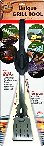 Jokari Pro Grade 6 in 1 Lighted Grill Tool All in One Cooking Utensil Includes Easy Grip Handle Spatula Adjustable Tongs Knife Blade Scraper Bottle Opener and LED Flashlight for Night Grilling