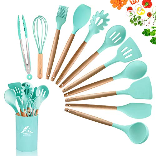 MIBOTE 12PCS Silicone Cooking Kitchen Utensils Set with Holder Wooden Handles Cooking Tool BPA Free Non Toxic Turner Tongs Spatula Spoon Kitchen Gadgets Set for Nonstick Cookware Green