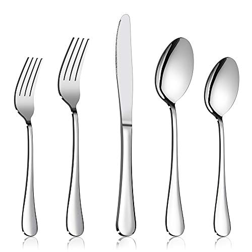 60-Piece Silverware Flatware Set E-far Stainless Steel Dinner Cutlery Utensil Set Service for 12 Suitable for HomeRestaurantHotelParty Simple Design Mirror Finished - Dishwasher Safe