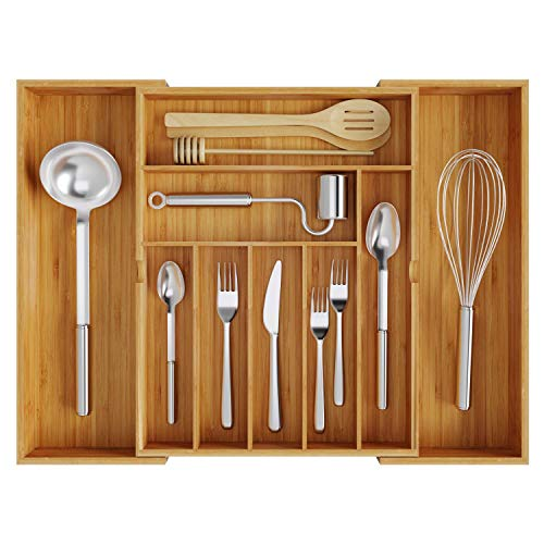 BAMEOS Utensil Drawer Organizer Cutlery Tray Desk Drawer Organizer Silverware Holder Kitchen Knives Tray Drawer Organizer 100 Pure Bamboo Expandable Adjustable Cutlery in Natural Color