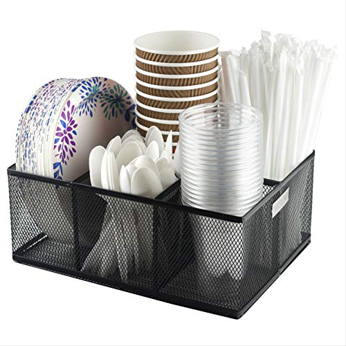 Eltow Cutlery Utensil Holder - Organizer Caddy with 5 Slots for Cups Forks Spoons Plates Napkins Condiments and More - Mesh Holder is Excellent for Silverware Organization Home and Kitchen Décor