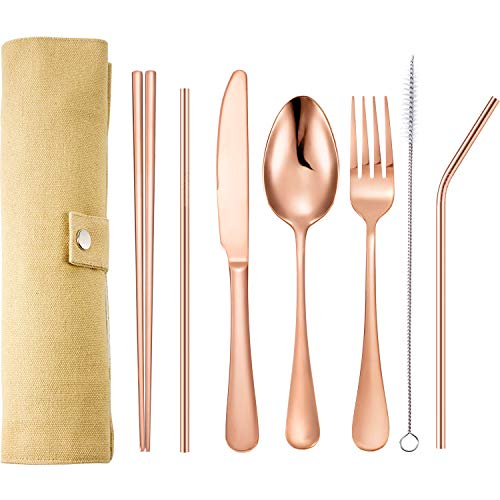 Tatuo 7 Pieces Portable Stainless Steel Flatware Set Travel Cutlery Silverware Set Reusable Utensils with Case Stainless Steel Knife Fork Spoon Chopsticks Straws Rose Gold