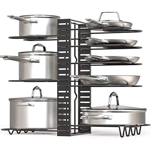 Lawei Pot Rack Organizer - 8 Tiers Pots and Pans Organizer with 3 DIY Methods Adjustable Pot Lid Holders Pan Rack for Kitchen Counter and Cabinet