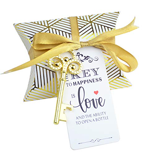 Aokbean 50pcs Vintage Skeleton Key Bottle Openers Wedding Favor Souvenir Gift Set Pillow Candy Box Escort Gift Card Thank You Tag French Ribbon
