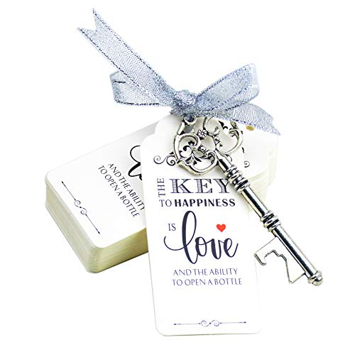Makhry 52pcs Vintage Skeleton Key Bottle Opener Party Favor Wedding Favor Guest Souvenir Gift Set with Escort Thank You Tag Card Fench Ribbon Antique Silver