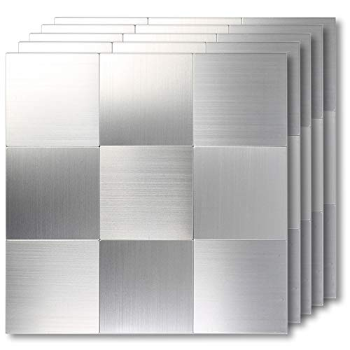 HomeyMosaic Peel and Stick Tile Backsplash Stainless Steel Stick on Tiles for Kitchen Wall Decor Aluminum Surface Metal TileSilver Square Plaid12x12x 5 Sheets