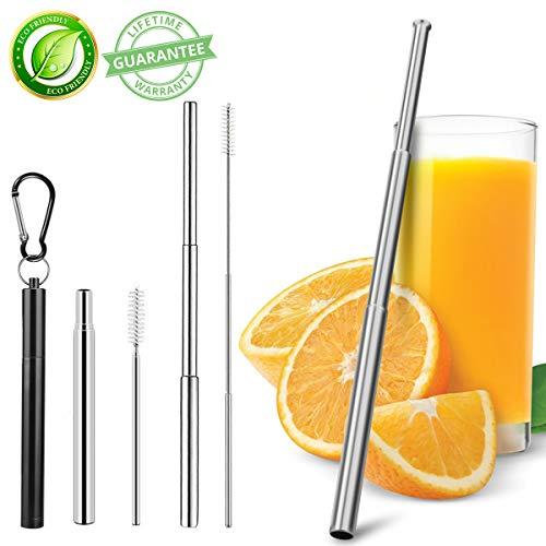 Metal Straws Collapsible Straws Reusable Straws Food-Grade Portable Straw Stainless Steel Metal Telescopic Drinking Straws with Travel Aluminum Case Cleaning Brush Keychain Black