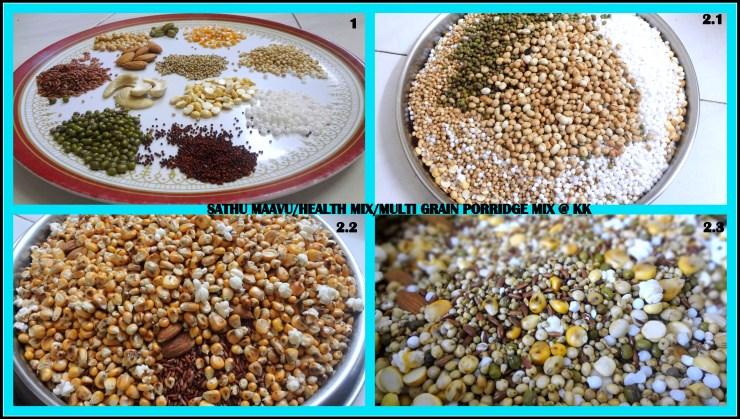 Home-made multigrain porridge mix/ Sathu Maavu Recipe