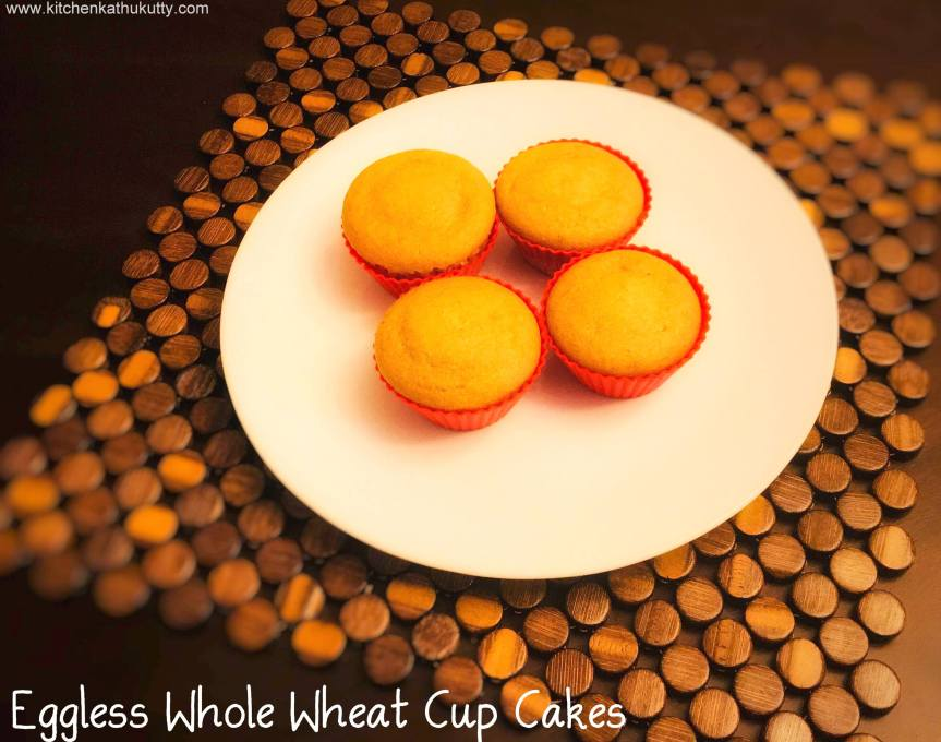 Eggless Whole Wheat Cup Cakes
