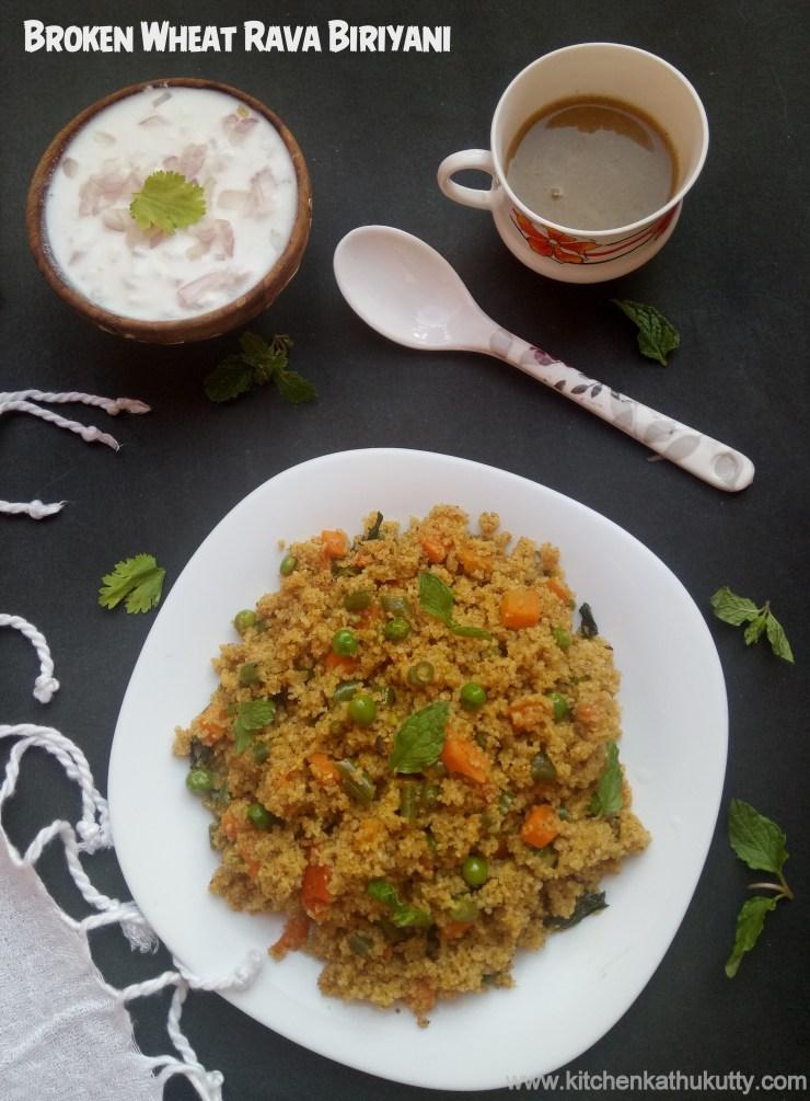 Vegetable Dalia Biryani or Broken Wheat Biriyani