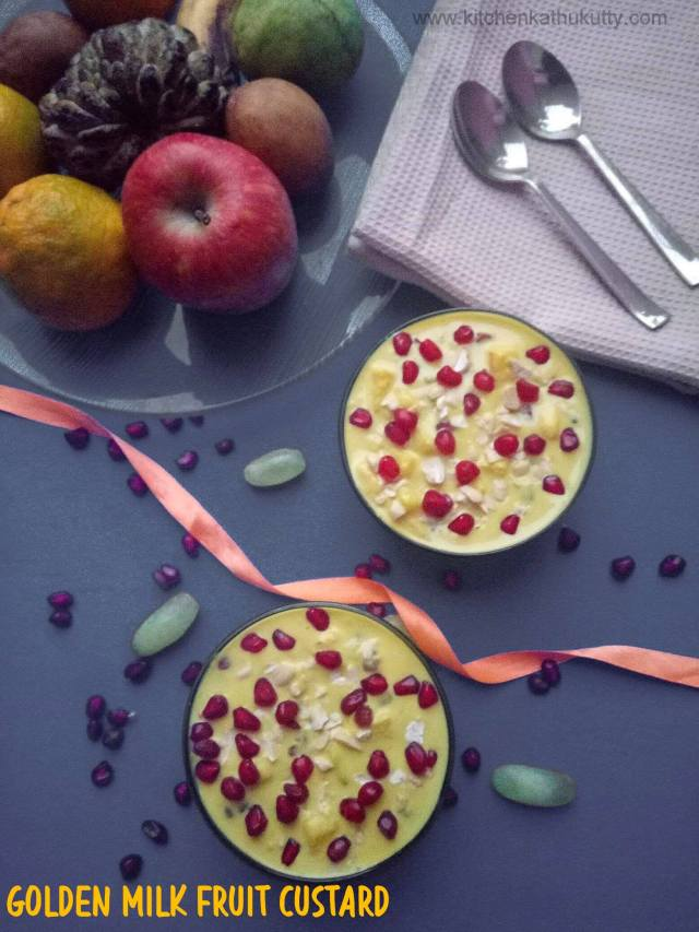 Golden milk fruit custard