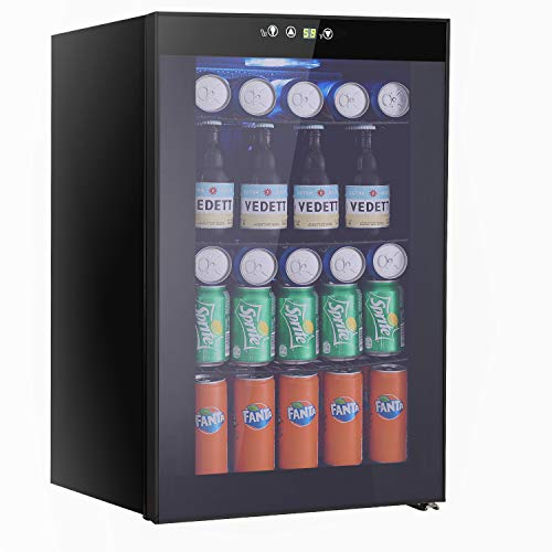 Beverage Refrigerator and Cooler 85 Can or 60 Bottles Capacity with Smoky Gray Glass Door for Soda Beer or WineCompressor Touch Panel Digital Temperature Display 29 cuft