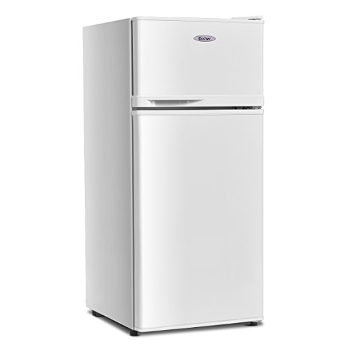 COSTWAY Compact Refrigerator 34 cu ft Classic Fridge with Reversible Door Adjustable Removable Glass Shelves Mechanical Control Recessed Handle for Dorm Office Apartment White
