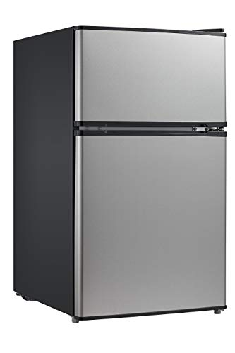 Midea WHD-113FSS1 Double Door Mini Fridge with Freezer for Bedroom Office or Dorm with Adjustable Remove Glass Shelves Compact Refrigerator 31 cu ft Stainless Steel