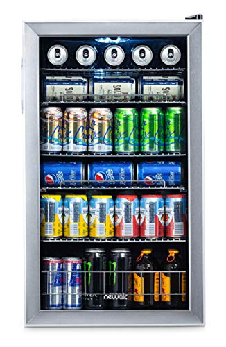 NewAir Beverage Cooler and Refrigerator Mini Fridge with Glass Door Perfect for Soda Beer or Wine 126-Can Capacity AB-1200