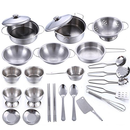 Ecosin Miniature 25 Pcs Set Kitchen Cookware Stainless Steel Cooking Utensils Pots Pans Miniature Gift