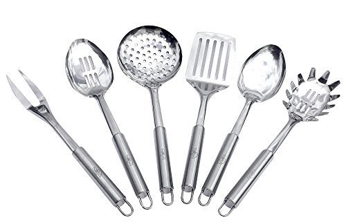 Sofies Cottage Stainless Steel Cooking Utensils - Kitchen Utensils Set of 6 Spoon Slotted Spoon Spatula Fork Skimmer Pasta Spoon Durable Easy Grasp Handles Easy to Hang Dishwasher Safe