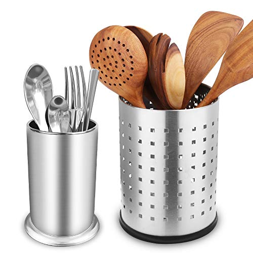 Stainless Steel Cooking Utensil HolderRust Proof Kitchen Utensil Organizer Set of 2 for Forks SpoonsKnivesVarious Tableware-72in5in66in41in