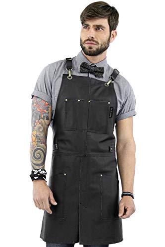 Real Leather Apron - Black Leather Body Pockets and Crossback Straps - Split-Leg Lined - Adjustable for Men and Women - Pro Chef Barista Barber Woodworker Shop Bartender Maker