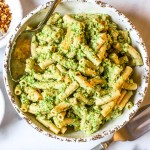 chickpea penne with arugula pesto