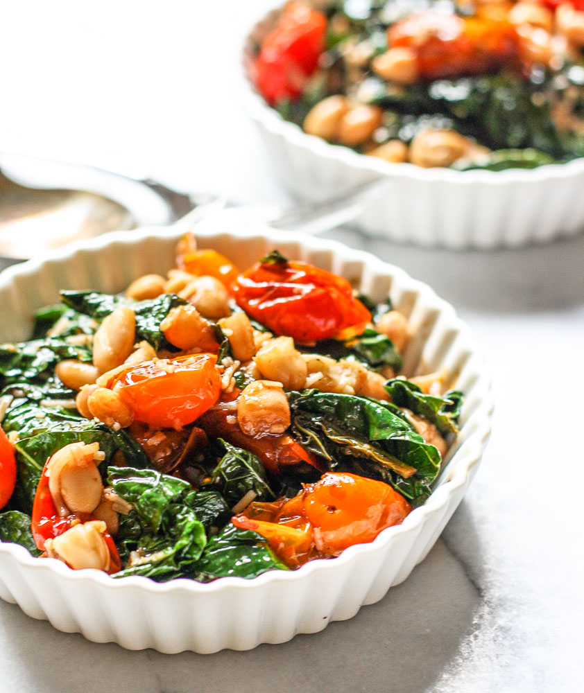 kale with tomatoes and white beans