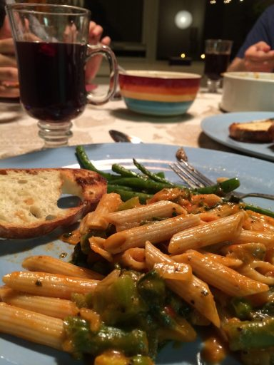 A dinner of Pasta and sautéed French Beans