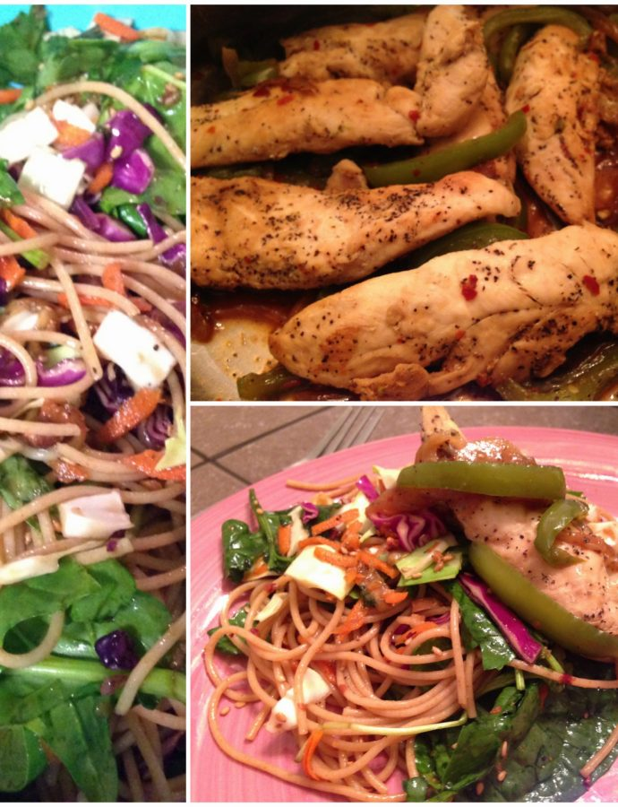 Whole Wheat Noodle Salad with Chicken Tenders