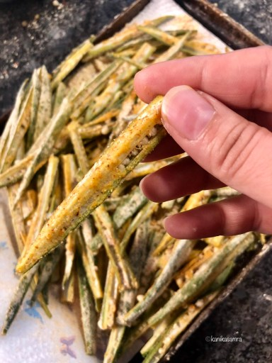 Coated Bhindi for cooking.