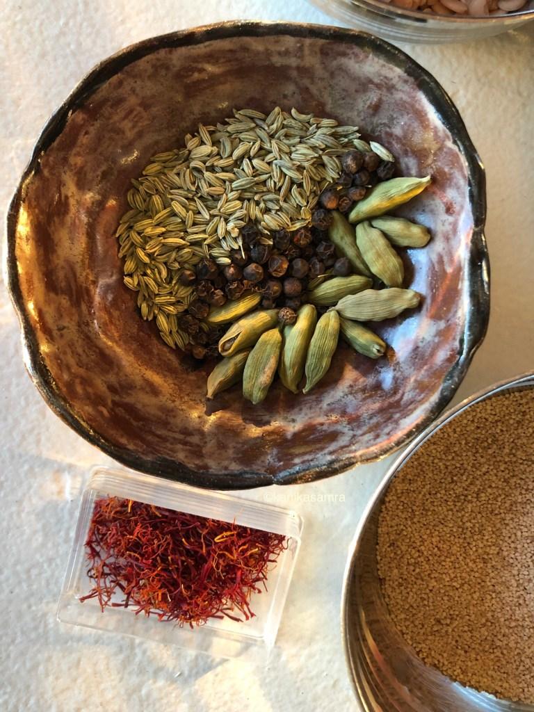 Cardamom, Peppercorns, Fennel seeds and Saffron