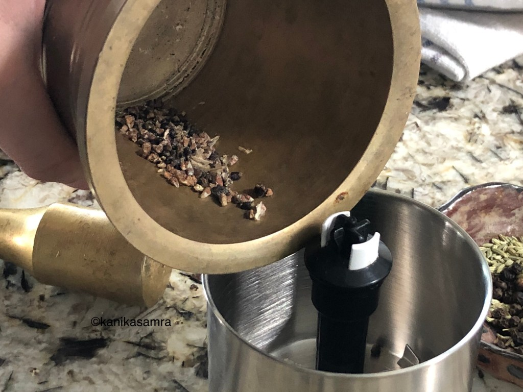 Blend cardamom, fennel and peppercorns