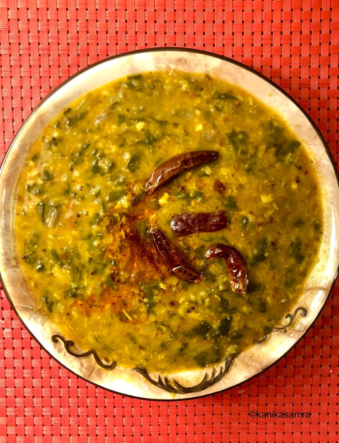 Dal Palak –moong masoor simmered with spinach