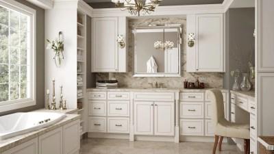 Bathroom Cabinets York Antique White - Kitchen Envy Cabinets