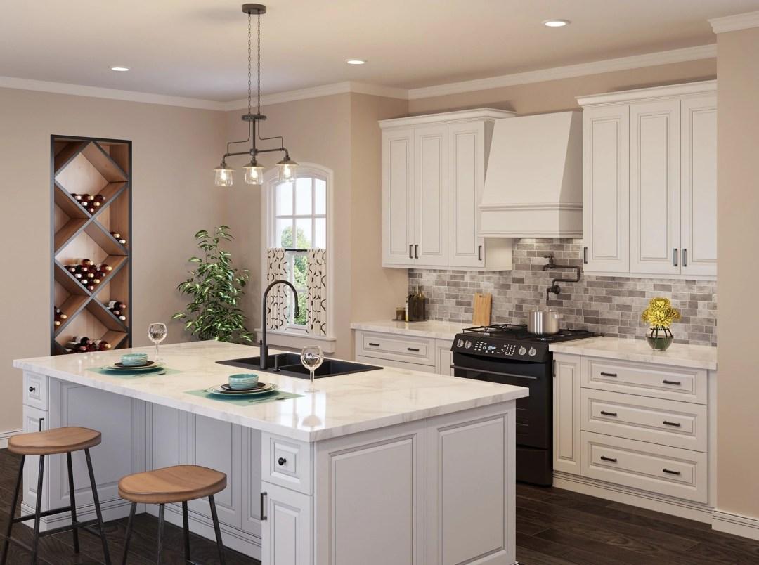 Angled Wood Range Hood - Wilmington - Kitchen Envy Cabinets